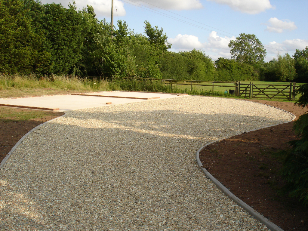 Timber framed garage base Base for concrete driveway