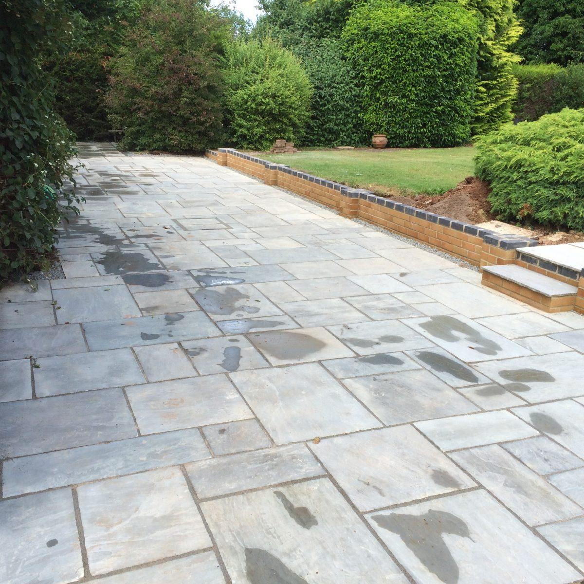 New Indian Sandstone Patio Redmarley Gloucestershire
