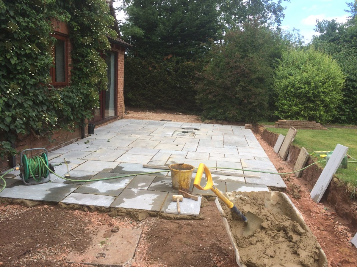 New Indian Sandstone Patio Redmarley Gloucestershire