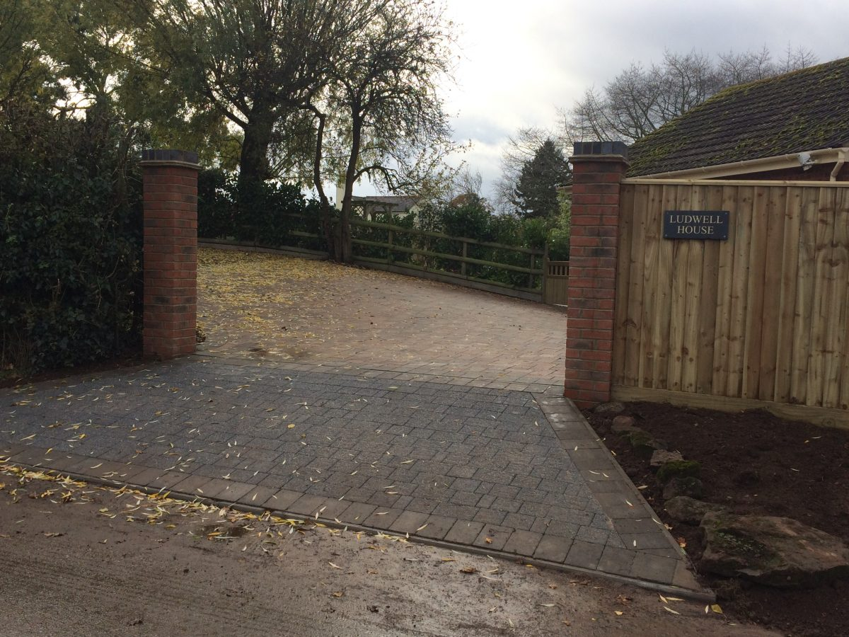 New Block Paved Driveway Gate Pillars And Fencing In