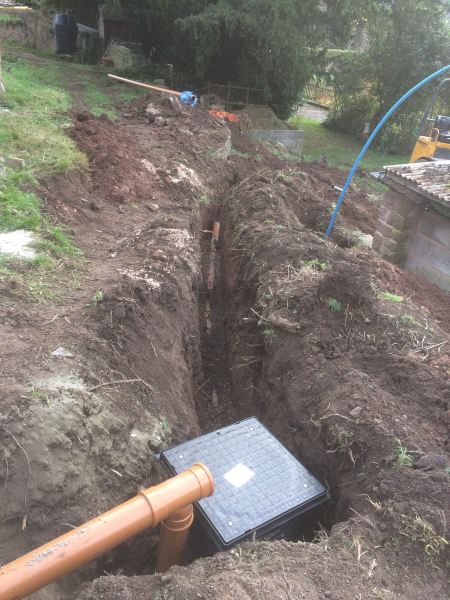 New Water Pipe And Foul Pipe Being Laid Plus Connection To