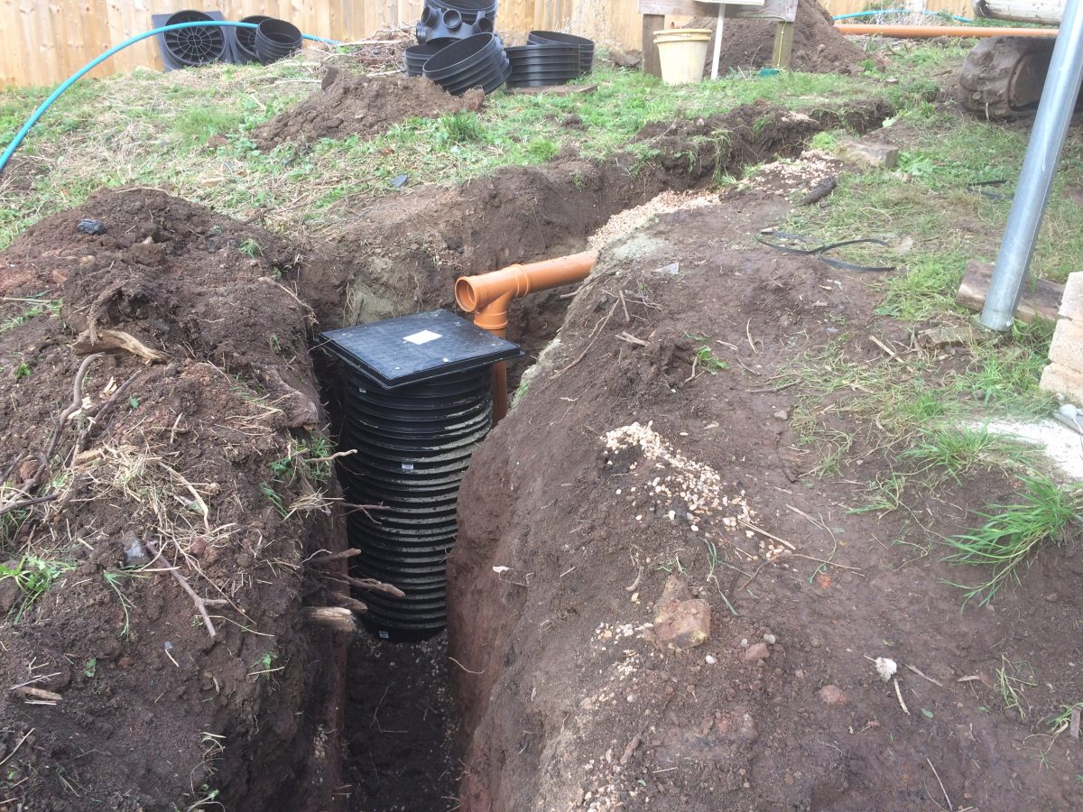 New water pipe and foul pipe being laid plus connection to for New water pipes